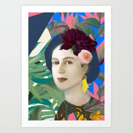 Jungle Pop Queenie with Kowhai Earring Art Print