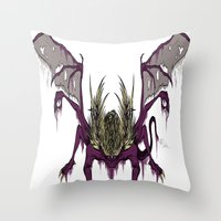 dark souls Throw Pillows featuring Gaping Dragon (Dark Souls) by Strange things collection