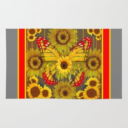 MODERN GREY-RED BUTTERFLY SUNFLOWERS TAPESTRY  ART Rug