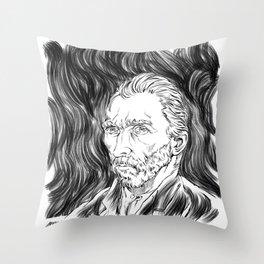 Van Gogh in black Throw Pillow
