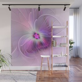 Abstract Flower With Pink And Purple Fractal Wall Mural