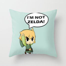 I'm not Zelda! (link from legend of zelda) Throw Pillow
