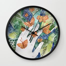 abstract whimsical nature art Wall Clock