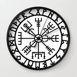 Vegvisir - Futhark - Runes - Navigator Wall Clock