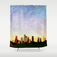 houston Shower Curtains featuring Houston Skyline by Tracy Carlson Photography