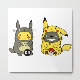 cat and Pikacu Onesies Metal Print