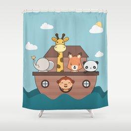 Kawaii Cute Zoo Animals On A Boat Shower Curtain