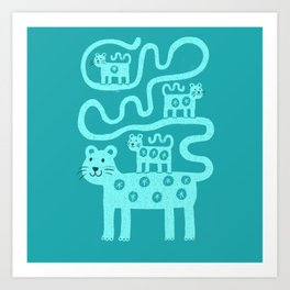 Leopard and cubs on teal Art Print