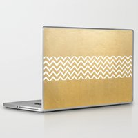 gold foil Laptop & iPad Skins featuring Gold Foil With White Chevron  by Joel M Young