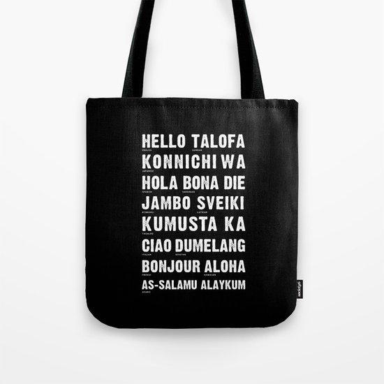 Hello Language Typography Black and White Tote Bag