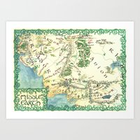 middle earth Art Prints featuring Middle Earth map by Ioreth