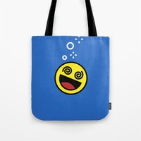 emoji Tote Bags featuring Drunk Emoji by Birds & Kings