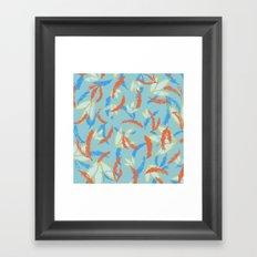orange and blue floral Framed Art Print