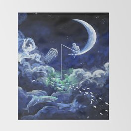 The Doctor Dreaming Of Fishing Throw Blanket