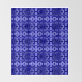 Dark Earth Blue and White Interlocking Square Pattern Throw Blanket