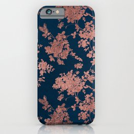 Navy blue faux rose gold watercolor floral iPhone Case