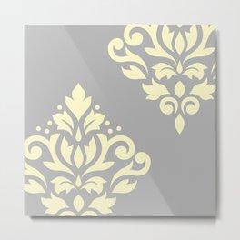 Scroll Damask Art I Yellow on Grey Metal Print