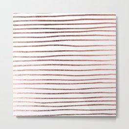 Chic elegant faux rose gold striped pattern Metal Print