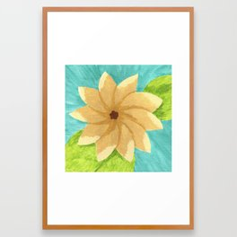Yellow Painsetta on Aqua Background Framed Art Print