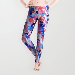 Abstract Flora Blue Leggings