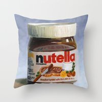 nutella Throw Pillows featuring Nutella Oil Painting by The GRYLLUS