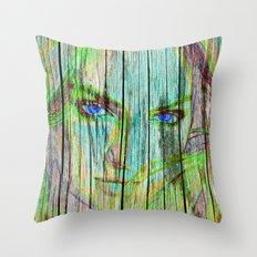 Woman on wood Throw Pillow