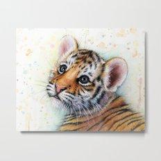Tiger Cub Watercolor Cute Baby Animals Metal Print