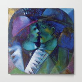 Green Lovers romantic Paris portrait painting by Marc Chagall Metal Print
