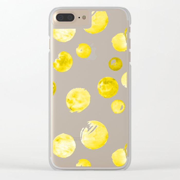 Yellow Watercolors Polka Dots Clear iPhone Case