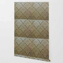 Golden Art Deco pattern Wallpaper