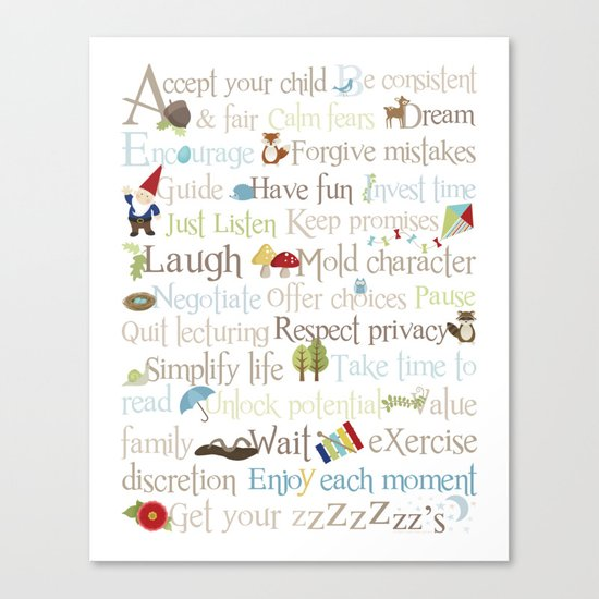 ABCs of Parenting - Woodland Canvas Print