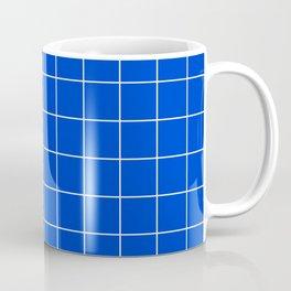 Grid Pattern Bright Cobalt Blue 003DCE Stripe Line Minimal Stripes Lines Coffee Mug
