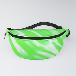 Light metal crooked mirror with green white diagonal stripes. Fanny Pack