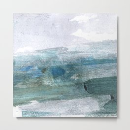 Blue and White Abstract Seascape Metal Print