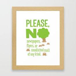 No Junk Mail Sign Framed Art Print