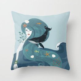 Aquatic Life of a Seaflower Throw Pillow