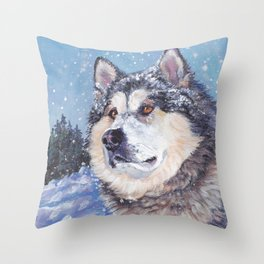 Alaskan Malamute dog portrait Fine Art Dog Painting by L.A.Shepard Throw Pillow