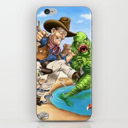 John Wayne VS. The Creature From The Black Lagoon iPhone Skin