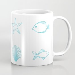 Sea Creatures Pattern - Light Blue Coffee Mug