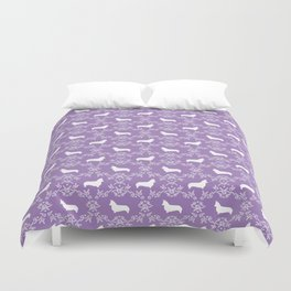 Corgi silhouette florals dog pattern purple and white minimal corgis welsh corgi pattern Duvet Cover