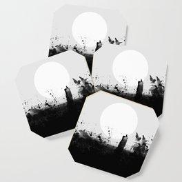 Abstract Watercolor Prints Black White Wall Art Minimalist Brushstrokes Circle Splatter Minimal Boho Coaster
