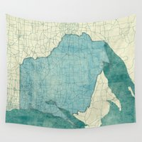 wisconsin Wall Tapestries featuring Wisconsin State Map Blue Vintage by City Art Posters