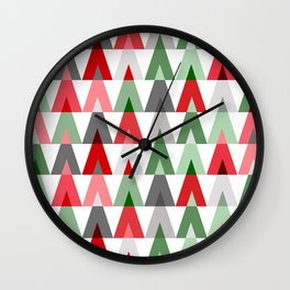 Geometric Triangles | red green white Wall Clock