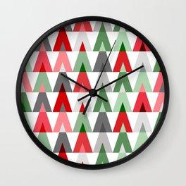 Geometric Triangles | red green white Wall Clock