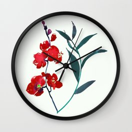 Coral red orchid navy ocean blue foliage simple watercolor design Wall Clock