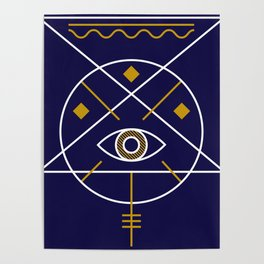 Sacred Geometry All Knowing Eye Cool Abstract Design Poster