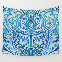 Sapphire and Emerald Watercolor Tulip Damask Wall Tapestry