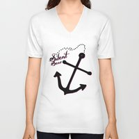 anchors V-neck T-shirts featuring Anchors Aweigh by Silent Seas