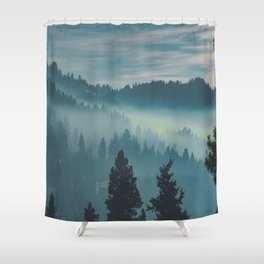 Misty Blue Watercolor Mountains Pine Trees Silhouette Minimalist Monochromatic Photo Shower Curtain