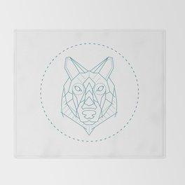 Geometric Blue Wolf Throw Blanket